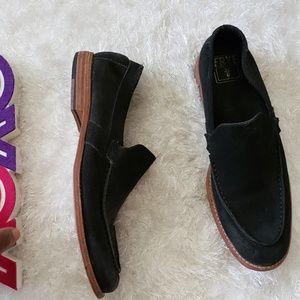 FRYE black suede loafers